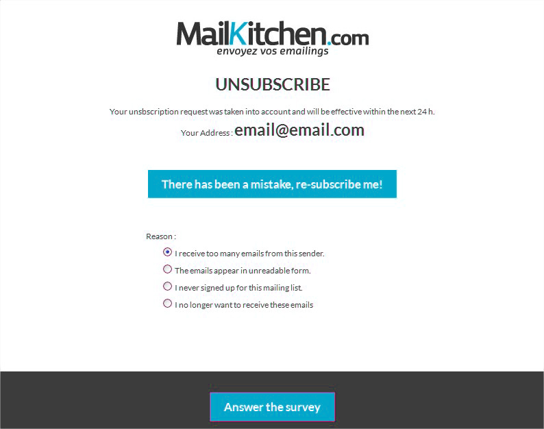 unsubscribe page for newsletters - MailKitchen