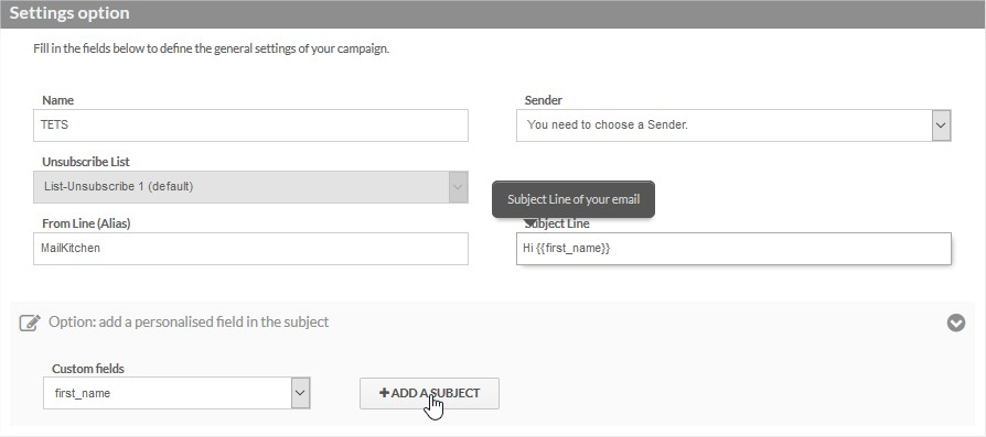 Insert a custom field in the subject line | MailKitchen Email Marketing